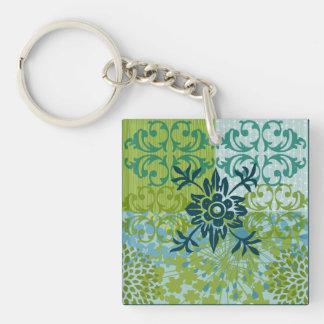Pretty Elegant Blue Green Floral Damask Pattern Keychain