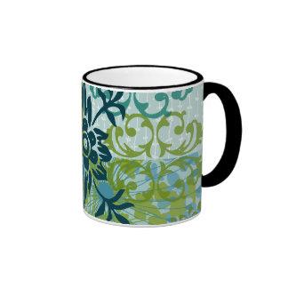 Pretty Elegant Blue Green Floral Damask Pattern Ringer Coffee Mug