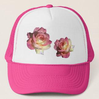 Pretty, elegant, classic, girly pink, yellow rose trucker hat