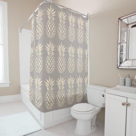 Pretty elegant copper rose gold pineapple & grey shower curtain