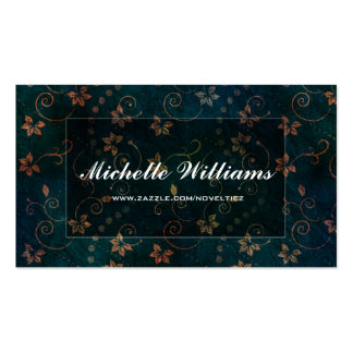 Pretty Elegant Dark Navy Floral Design Double-Sided Standard Business Cards (Pack Of 100)