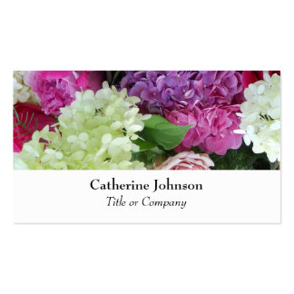 Pretty Elegant Flowers Florist  Professional White Business Card Template