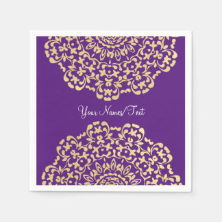 Pretty Elegant Gold Deep Purple Lacy Patterned Paper Napkin