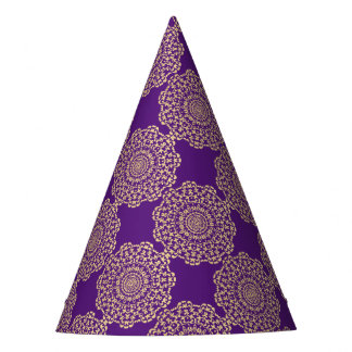 Pretty Elegant Gold Deep Purple Lacy Patterned Party Hat