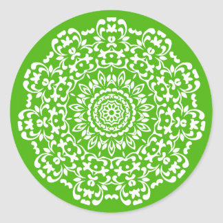 Pretty Elegant Green And White Lacy Patterned Classic Round Sticker