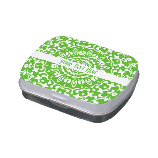 Pretty Elegant Green White Lacy Personalized Jelly Belly Candy Tin