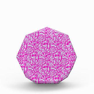 Pretty Elegant Pink Aqua Damask Floral Print Award