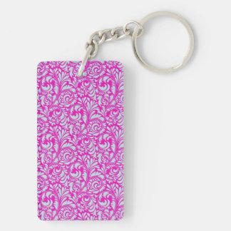 Pretty Elegant Pink Aqua Damask Floral Print Keychain