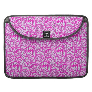 Pretty Elegant Pink Aqua Damask Floral Print MacBook Pro Sleeve