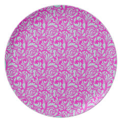 Pretty Elegant Pink Aqua Damask Floral Print Dinner Plate