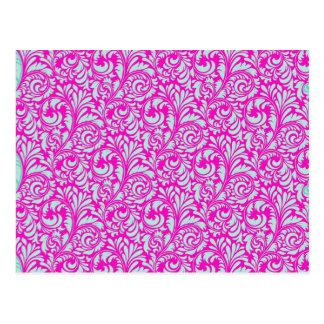 Pretty Elegant Pink Aqua Damask Floral Print Postcard