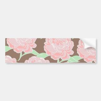 Pretty Elegant Pink Tan Flowers Floral Pattern Bumper Sticker