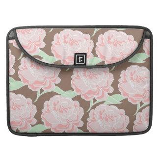 Pretty Elegant Pink Tan Flowers Floral Pattern MacBook Pro Sleeves