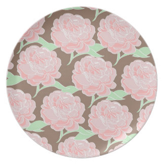 Pretty Elegant Pink Tan Flowers Floral Pattern Party Plate