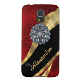 Pretty elegant red damask pattern personalized galaxy s5 cover