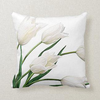 Pretty Elegant White Dutch Tulips Flowers Throw Pillow