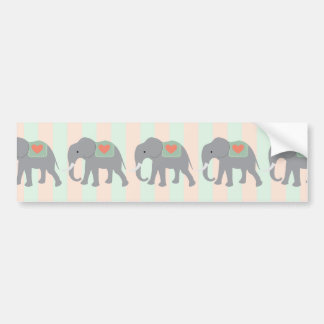 Pretty Elephants Coral Peach Mint Green Striped Bumper Sticker