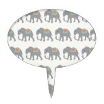 Pretty Elephants Coral Peach Mint Green Striped Cake Toppers