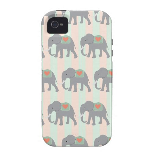 Pretty Elephants Coral Peach Mint Green Striped iPhone 4/4S Case
