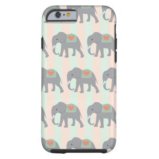 Pretty Elephants Coral Peach Mint Green Striped iPhone 6 Case