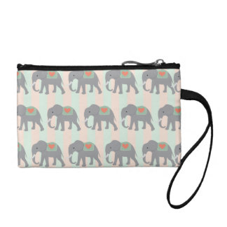 Pretty Elephants Coral Peach Mint Green Striped Change Purse