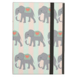 Pretty Elephants Coral Peach Mint Green Striped iPad Cover