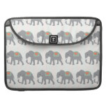 Pretty Elephants Coral Peach Mint Green Striped Sleeves For MacBook Pro