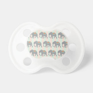 Pretty Elephants Coral Peach Mint Green Striped Pacifier