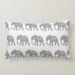Pretty Elephants Coral Peach Mint Green Striped Throw Pillows