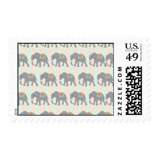 Pretty Elephants Coral Peach Mint Green Striped Postage Stamps