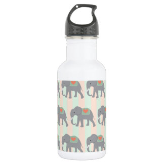 Pretty Elephants Coral Peach Mint Green Striped Water Bottle