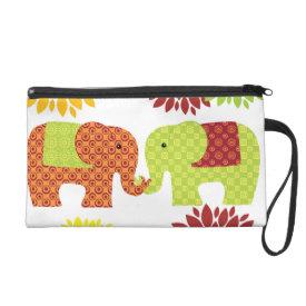 Pretty Elephants in Love Holding Trunks Flowers Wristlet