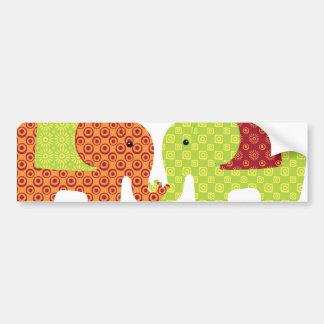 Pretty Elephants in Love Holding Trunks Flowers Bumper Sticker