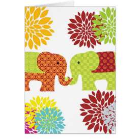 Pretty Elephants in Love Holding Trunks Flowers Card