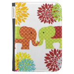 Pretty Elephants in Love Holding Trunks Flowers Kindle 3G Cases