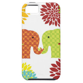 Pretty Elephants in Love Holding Trunks Flowers iPhone 5 Cases