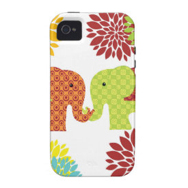Pretty Elephants in Love Holding Trunks Flowers iPhone 4 Cover