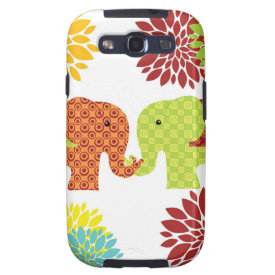 Pretty Elephants in Love Holding Trunks Flowers Galaxy S3 Cases