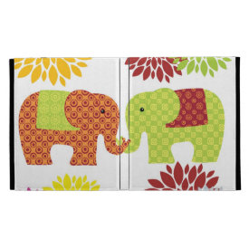Pretty Elephants in Love Holding Trunks Flowers iPad Folio Case