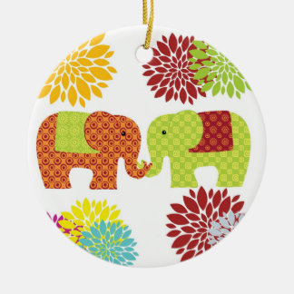Pretty Elephants in Love Holding Trunks Flowers Ceramic Ornament