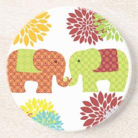 Pretty Elephants in Love Holding Trunks Flowers Coasters