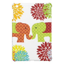 Pretty Elephants in Love Holding Trunks Flowers Cover For The iPad Mini