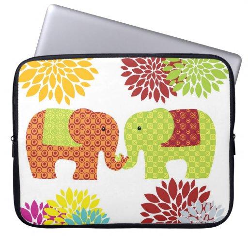 Pretty Elephants in Love Holding Trunks Flowers Laptop Computer Sleeve