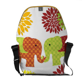 Pretty Elephants in Love Holding Trunks Flowers Courier Bags