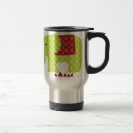 Pretty Elephants in Love Holding Trunks Flowers Coffee Mug