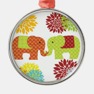 Pretty Elephants in Love Holding Trunks Flowers Round Metal Christmas Ornament