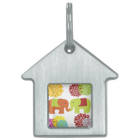 Pretty Elephants in Love Holding Trunks Flowers Pet ID Tags