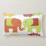Pretty Elephants in Love Holding Trunks Flowers Pillow