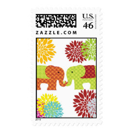 Pretty Elephants in Love Holding Trunks Flowers Postage Stamp