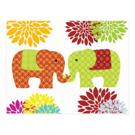 Pretty Elephants in Love Holding Trunks Flowers Post Card
